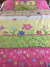 "VINTAGE INSPIRED  HAND CRAFTED & QUILTED FLOWER GARDEN QUILT & SHAM 68"" X 87"""