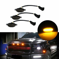 3pcs Smoked Lens Amber LED Running Lights Kit For Ford F-150 Raptor Front Grille