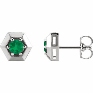 Chatham Lab-Created Emerald Geometric Earrings In Platinum