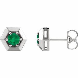 Chatham Lab-Created Smaragd Geometrische Ohrringe 14K Weiss Gold