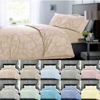 Cotton Rich Chambray Easy Care Floral Lace Soft Quilt Duvet Cover Bedding Set