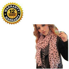 Chiffon Scarf For Women Cute Cat Pattern Girly Pink Soft Long Wrap Scarves Stole