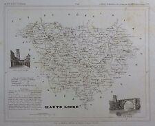 Carte du Département HAUTE LOIRE gravée sur acier par Alés Petit Atlas National