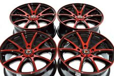 4 New DDR ST15 16x7 5x100/114.3 38mm Black/Polished Red Wheels Rims