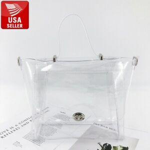 Beautiful Transparent PVC Clear Purse Handbag Clear Handles and Detachable Strap