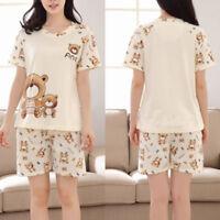 Summer Women Bear Print Pajamas Suit Tracksuit Short Sleeve Casual Sleepwear