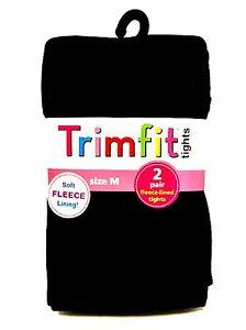 Trimfit Black Tights Two Pair Soft Fleece Lining Size Medium 7-10 Weight 50-74