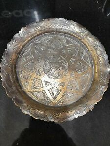 Antique Vintage Scalloped Brass Star Pattern Islamic Arabic Brass Tray Charger