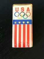 Vintage Collectible USA Olympics Stars Stripes Metal Colorful Pinback Lapel Pin