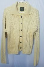 Carraig Donn Irish Knit Aran Cardigan Merino Wool Sweater Soft Yellow Womens S