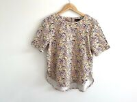 Warehouse Top Size UK 14 Floral Print Short Sleeve Button Up Afternoon Tea
