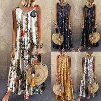 Women Plus Size Bohemian O-Neck Floral Print Vintage Sleeveless Long Maxi Dress