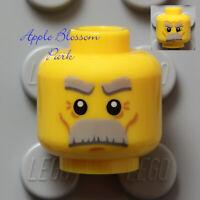 NEW Lego Old Man MINIFIG HEAD w/Farmer Grandpa Bushy Gray Beard Eye Brow Hair