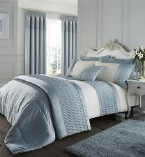RUFFLED WAVE EMBROIDERED DUCK EGG BLUE BEDSPREAD THROW 240CM X 260CM