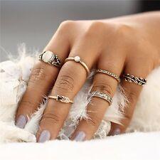 6pcs Fashion Women Gold Tone Boho Opal Ring Set Midi Finger Knuckle Rings New