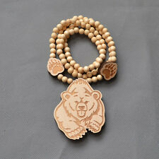 "Good Quality Hip-Hop Bear Pendant 8mm Beads Wood Chain Necklace 36"" Wood Color"