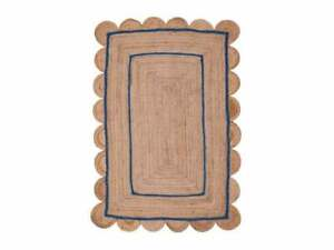 Jute Natural Wirh Blue Line 100%Handmade 2.6x10 Feet Decorative Modern Look Rug