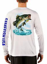 Men's UPF 50 Long Sleeve Microfiber Performance Fishing Shirt Bass