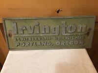 WOW! Vintage IRVINGTON Moore Co. Metal Industrial Sign Portland Oregon Steel #1