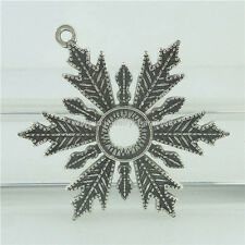 15669 7PCS Antique Silver Vintage Alloy Snowflake Pendant Fit 10mm Rhinestone