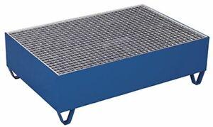Auffangwanne mit Gitterrost für 2 Fässer a 200 Ltr RAL5010 Enzianblau Fasswanne