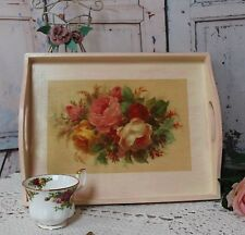 "~ Vintage ~ Wooden ~ Decorative ~ Serving ~ Tray ~ French ~ ""China Roses"" ~"