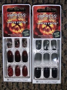 Lot Of 2 imPRESS Kiss Nails Limited Edition Halloween Glow In The Dark RUN AWAY