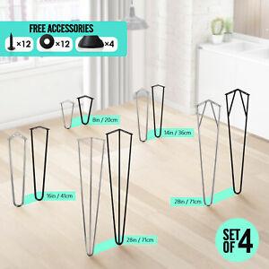"4x Hairpin Table Desk Bench Legs Protector Feet Steel Metal 8"" 14"" 16"" 28"" UK"