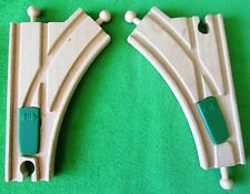 2 Wooden Brio Compatible Y-Shaped Train Track W/Green Track Switchers - 5 1/2""