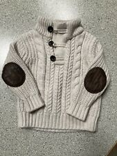 Baby Gap Toddler Boys Ivory Brown Elbow Patch Arm Sweater Size 18-24 Months Euc