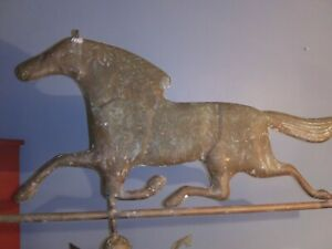 Antique Large Copper Trotting Horse Weathervane Top  Beautiful Patina