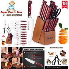 Kitchen Stainless Steel High Carbon Sharp Knife Set Wooden Block Sharpening Tool