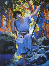 "Maxfield Parrish Edison Mazda Art ""Dreamlight"" Girl on Swing in Woods Shadows A+"