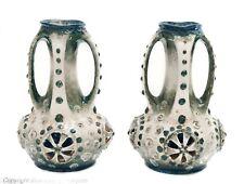 Pair Antique Imperial Amphora Austria Turn Teplitz Art Pottery Morania Vases