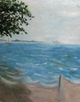 Vintage impressionist oil painting seascape