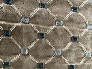 "Two Custom Made Valances 23""W x 14""L Tan Diamond Pattern W/White Lining"