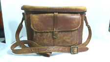 """Vintage Camera Bag Brown Distressed Leather 12"""" x 9"""" x 5"""" 1950s"""