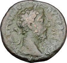 COMMODUS Marcus Aurelius son  sacrificing over tripod Ancient Roman Coin i45630