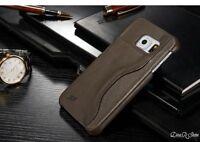 Design Echt Leder Hülle für Samsung Galaxy S6 Edge Tasche - Grau (11GR)