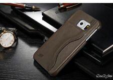 Design Cuir Véritable Housse pour Samsung Galaxy S6 Edge Etui - Gris (11GR)
