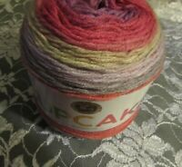 NEW LION BRAND CUPCAKE Cherry Blossom Red Tan Yarn Light 150g Acrylic 935217