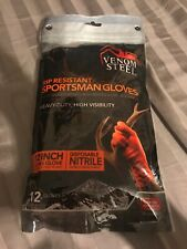 "Venom Steel Sportsman Nitrile Gloves with 12"" Cuff, Rip Resistant (12 Count)"