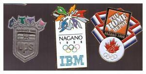 Nagano 1998 Olympics pins: UPS; IBM; Canada NOC Home Depot