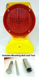 TAPCO Red Solar Powered LED Barricade Light #5785445 With Tool and Mounting Bolt
