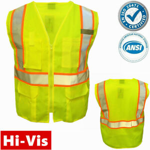 Hi Vis ANSI Class 2 Reflective Tape Safety Work Lime Green Vest High Visibility