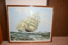 Montague Dawson 'Ariel' and 'Taeping' 1964 sailboat England frame w glass 33x28