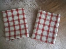 """RED GINGHAM  BROADCLOTH CAFE' TIER CURTAINS 26 1/2"""" X 35"""" / ESSENTIAL HOME  #190"""