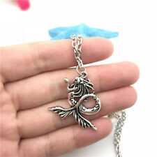 Large Mermaid Necklace Charms Jewelry Tibet silver Pendant Chain Necklace