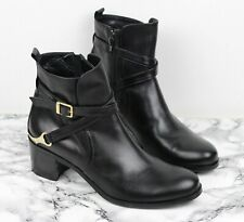 RUSSELL & BROMLEY Black Leather Western Ankle Boots, Size UK 5 / EU 38