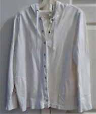 Women~White Hooded Top~by g.gill~sz L~hoodie~100%cotton~8 front snaps~2 pockets